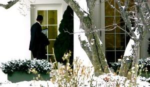 Obama using window as door.
